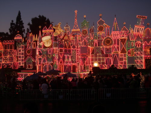 It's a Small World decorated for the holidays