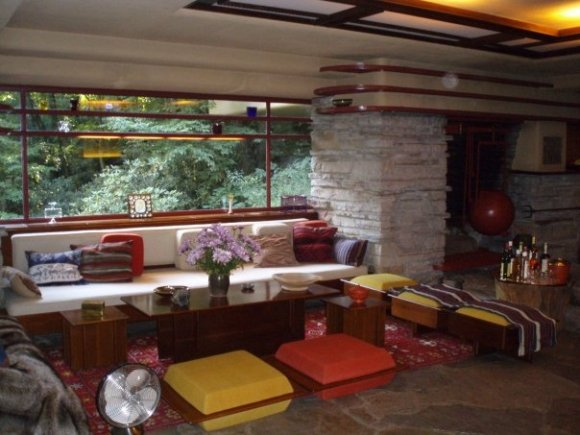 Retro furniture designed by Frank Lloyd Wright for Fallingwater