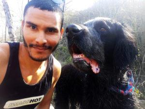 Dog runner with black dog
