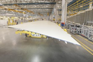 The A350-1000 wing cover ready to be assembled at Broughton, Wales, UK.