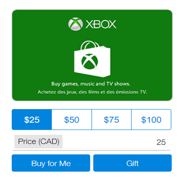 PayPal Digital Gift Cards- Xbox