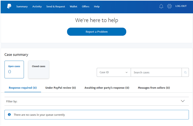 PayPal resolution Centre Canada