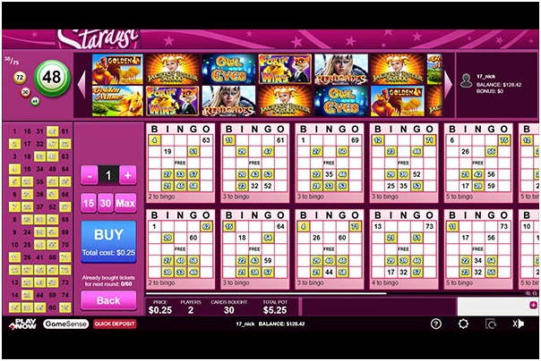Stardust bingo room at Play Now Canada