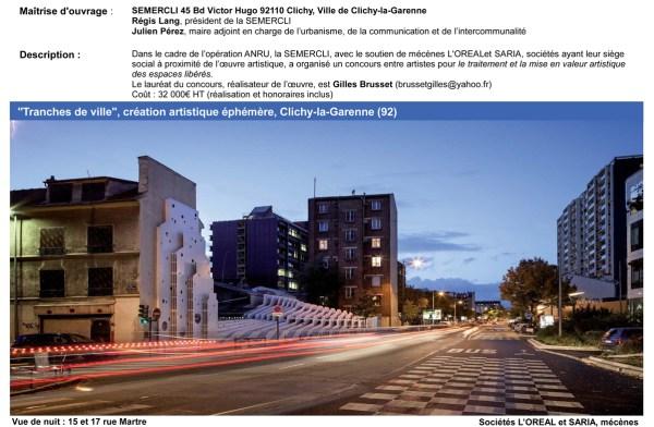 PRIX NATIONAL DE L'ART URBAIN 2014 – Tranches de ville – Semercli Clichy