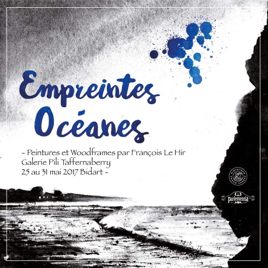 Affiche de l'exposition Empruntes Océanes à Bidart mai 2017