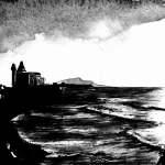 aquarelle-noir-et-blanc-couche-soleil-biarritz-beltza-copyright-francois-lehir-pays-basque