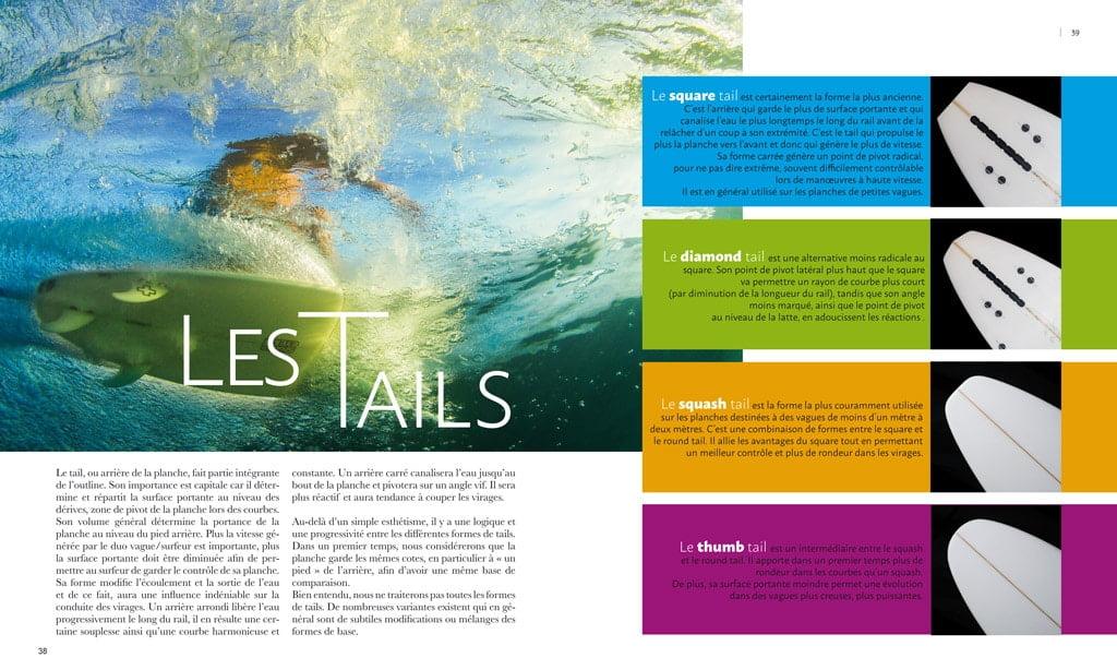 page interne du livre Surf & Shape : les tails