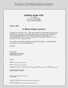 Salary Verification Letter Sample By Payslipstemplates Com