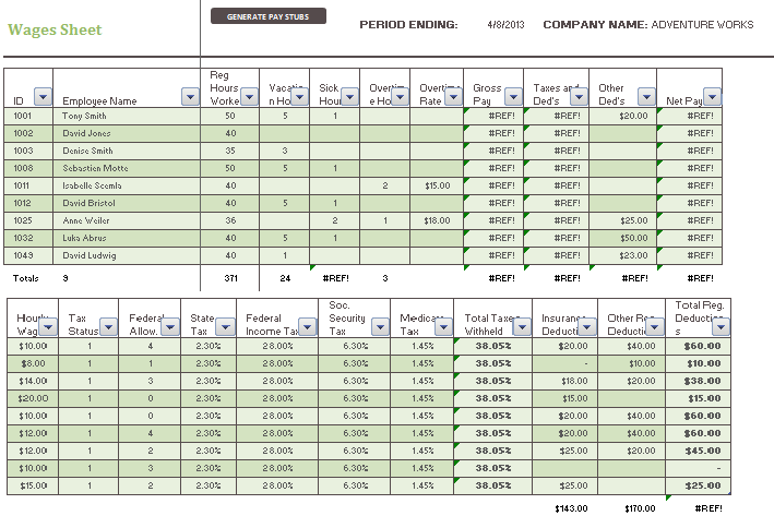daily wage template payslip templates