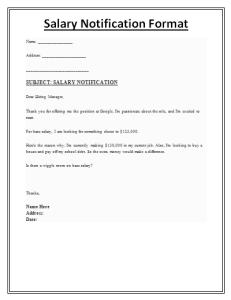 Salary Notification Format