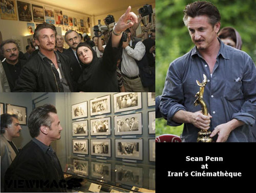 Sean Penn in Iran meeting with his industry colleagues in the Iranian film industry at the Cinematheque (PLEASE cick the link below to read his letter about Iran). (Image courtesy of www.payvand.com).