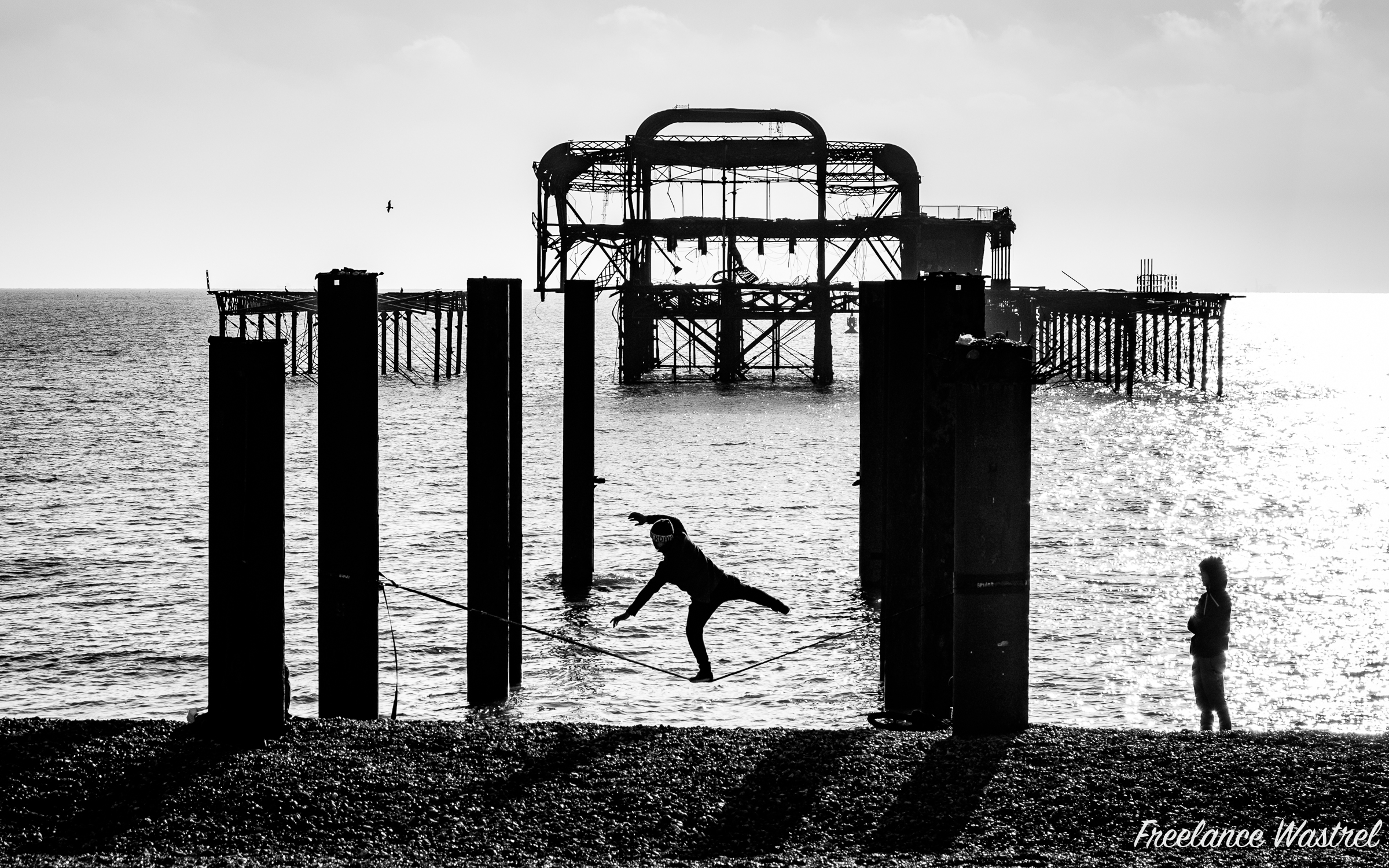 Tightrope practise, Brighton
