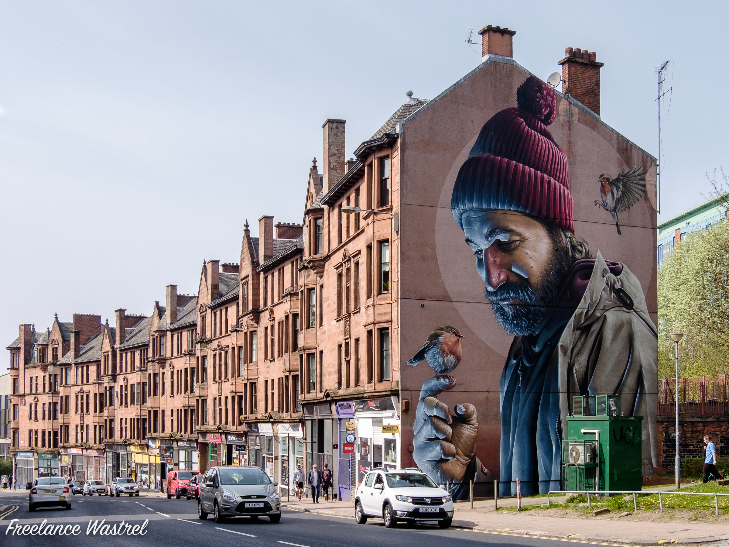 Mural depicting St Mungo, Glasgow, April 2019