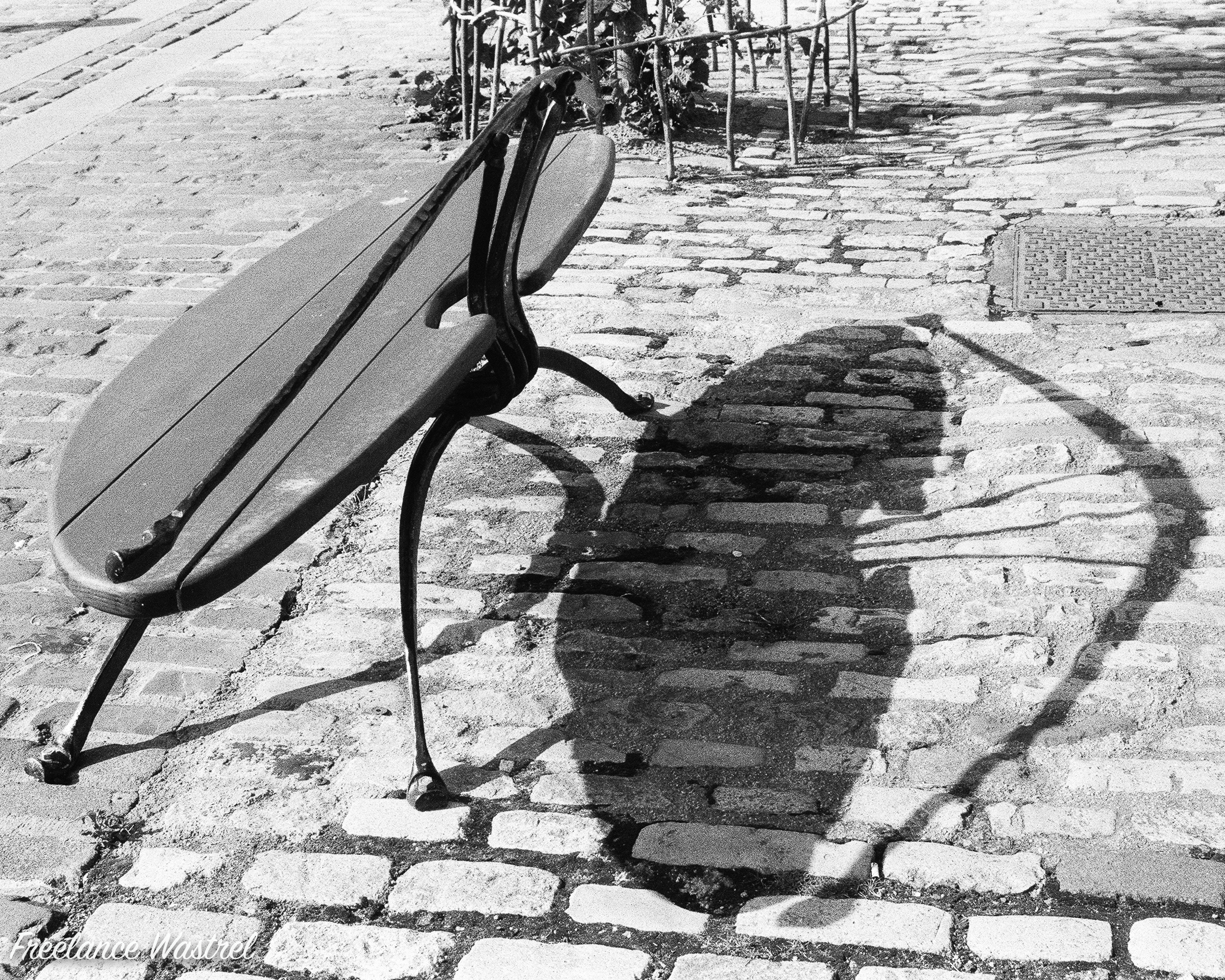Bench shadow, Leith, August 2019