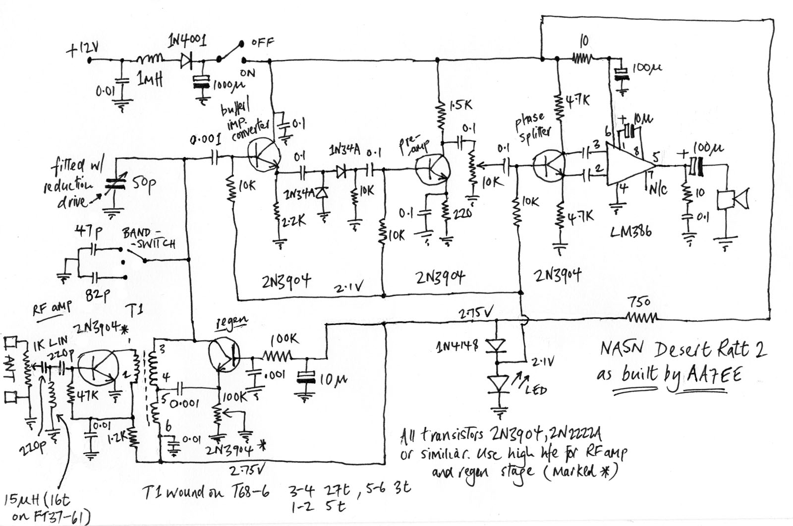 The Na5n Desert Ratt 2 Regen Dave Richards Aa7ee Variableresistorcontrolled Regenerative Receiver Circuit Diagram