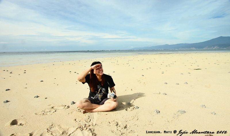 Jojie Alcantara on the remote beach of Lawigan, Mati