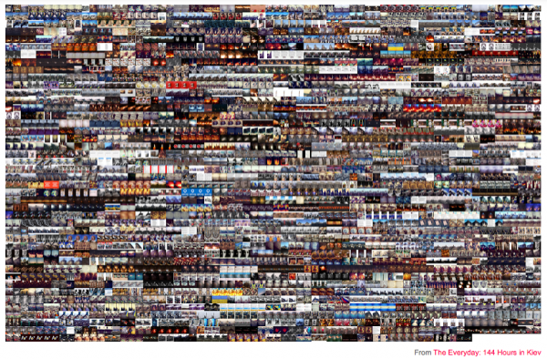 "A visualization of images using at least one of the different spellings of Maidan -- #майдан, #maidan, #euromaidan, #євромайдан, #евромайдан, #euromaydan, #Euromaidan -- organized by date and upload time. Each tag potentially has a different meaning to the user. Photo courtesy of ""The Exceptional & the Everyday: 144 Hours in Kiev."""