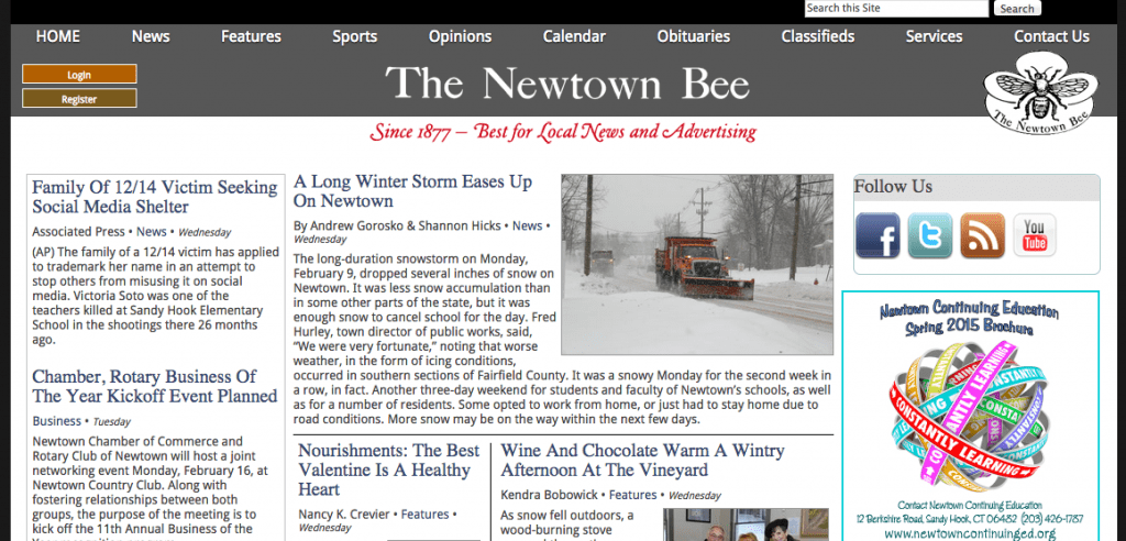 Screenshot of the Newtown Bee, whose story during the 2012 Sandy Hook shootings helped inspire the idea for a restorative narrative fellowship.