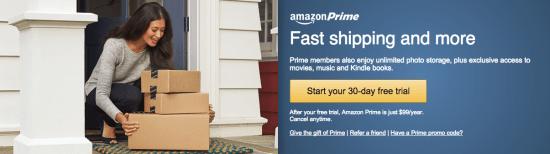 Amazon Prime's membership pitch. Screenshot courtesy of Amazon.com