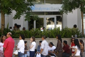 Customers wait in line at the Indymac Bank branch headquarters in Pasadena, Calif., in July 2008. Joshua Lott/Bloomberg News