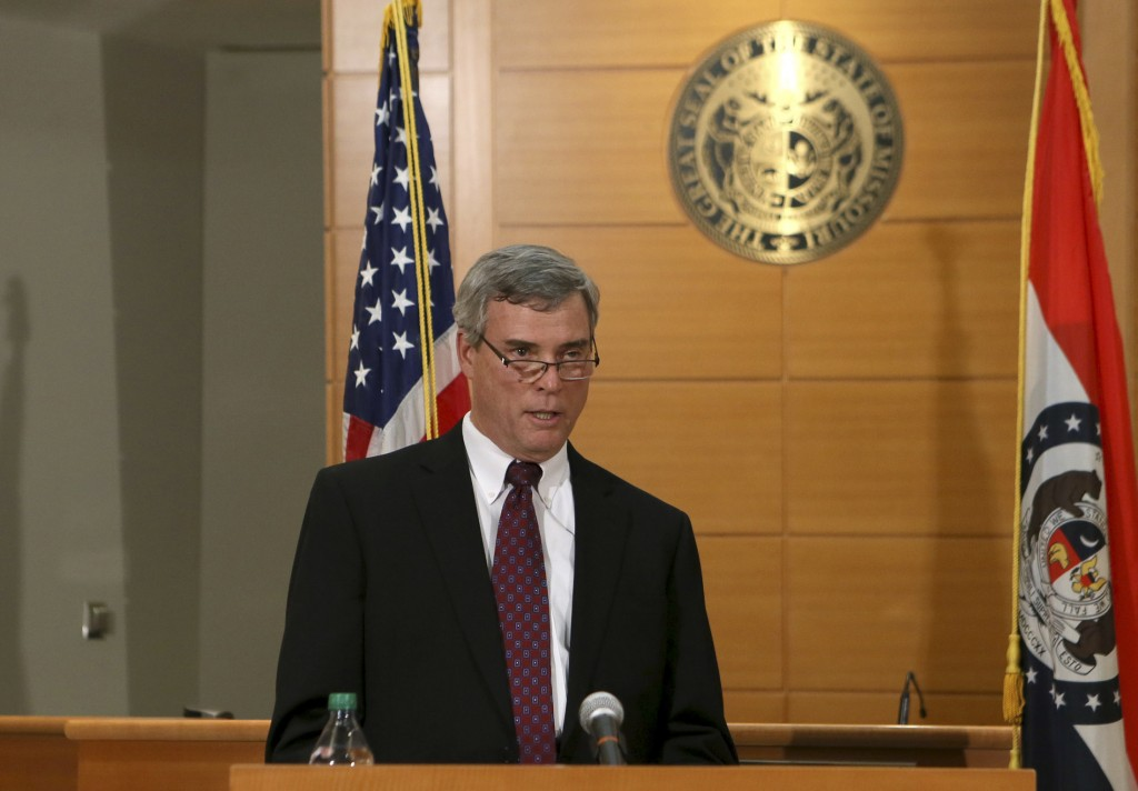St. Louis County Prosecutor Bob McCulloch announces the grand jury's decision not to indict Ferguson police officer Darren Wilson Monday in Clayton, Missouri. Photo by Cristina Fletes-Boutte/Reuters