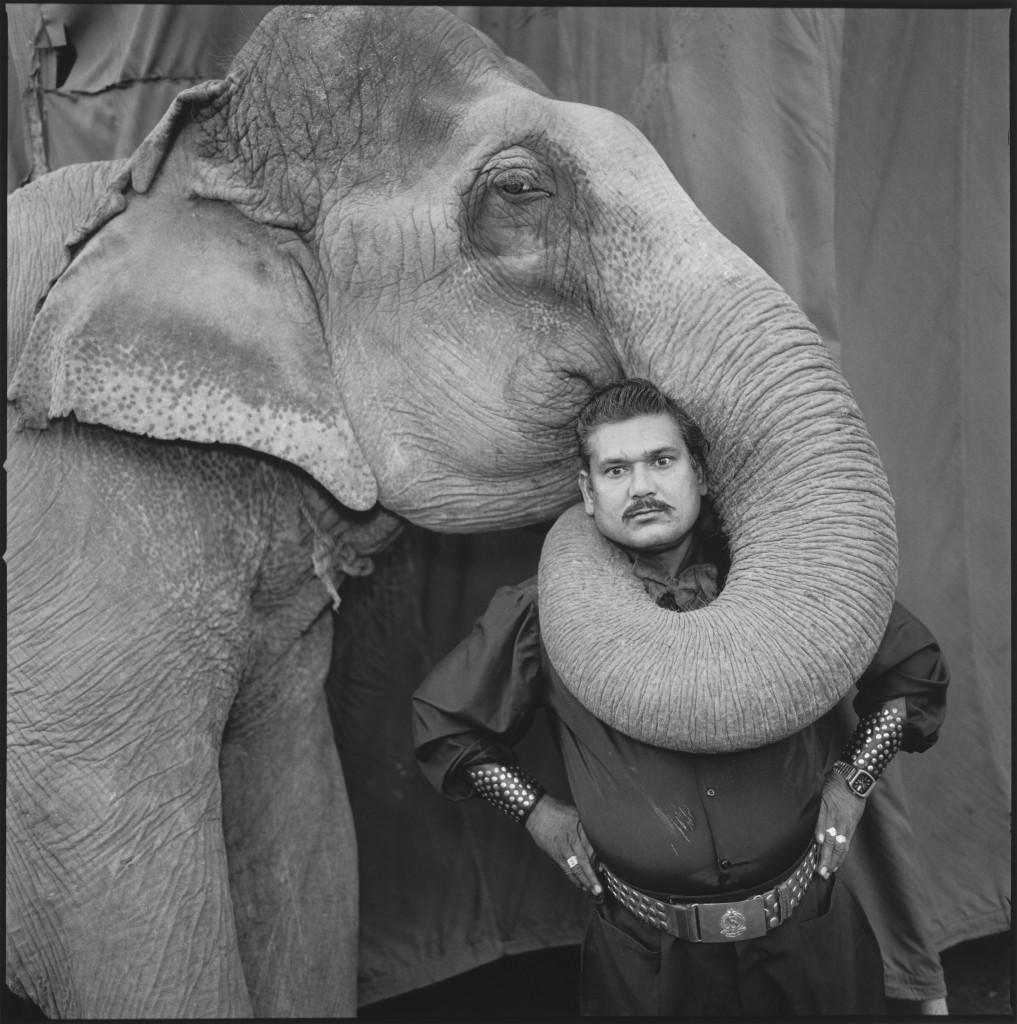 Ram Prakash Singh with His Elephant Shyama, Great Golden Circus, Ahmedabad, India 1990. Photo by Mary Ellen Mark