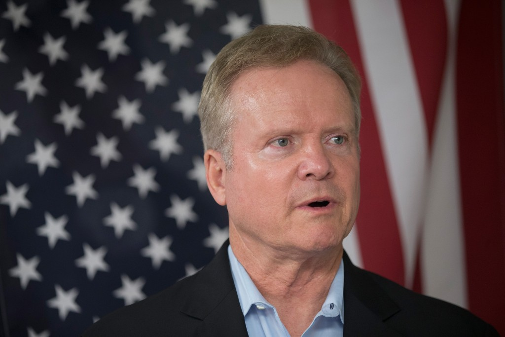 URBANDALE, IA - JUNE 14:  Former Virginia Senator Jim Webb listens to speakers at the Urbandale Democrats Flag Day Celebration on June 14, 2015 in Urbandale, Iowa. Webb is on a three-day tour of Iowa while he continues to explore his potential in a bid for the 2016 Democratic nomination for president.  (Photo by Scott Olson/Getty Images)