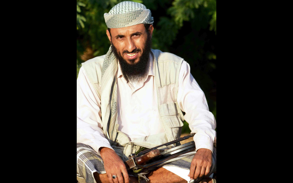 Al-Qaeda in the Arabian Peninsula (AQAP) chief Nasser al-Wuhayshi is pictured in the militant stronghold town of Jaar, in the southern Abyan province, on April 28, 2012.