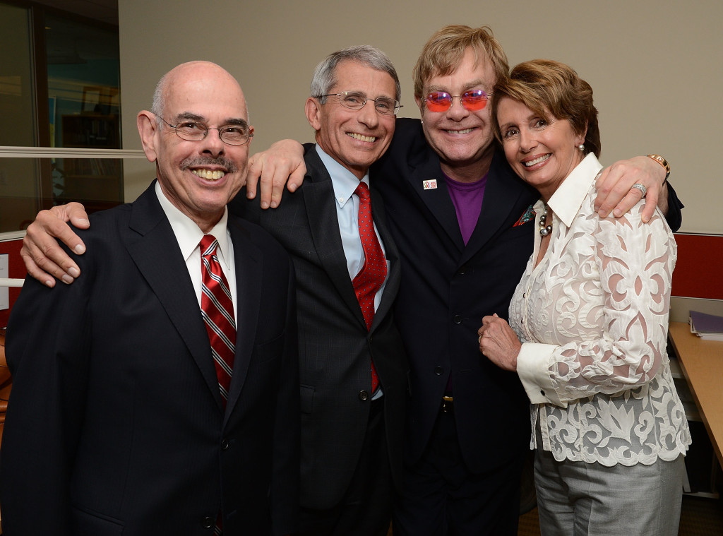 U.S Congressman Henry Waxman (D-CA), NIAID Director Anthony S. Fauci, M.D., Sir Elton John, U.S. Congresswoman Nancy Pelosi (D-CA) attend the Syringe Access Fund at the Open Society Foundations on July 24, 2012 in Washington, DC.