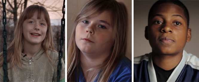 From left: Kaylie Hegwood, 11, Brittany Smith, 11, Johnny Davis, 14, when Poor Kids first aired in 2012.