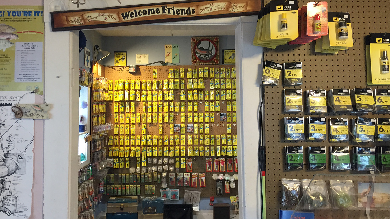 Inside the family's fly fishing equipment store.