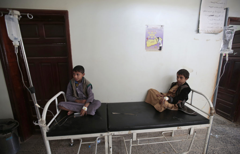 Boys are treated for a suspected cholera infection at a hospital in Sanaa, Yemen, on July 12, 2017.