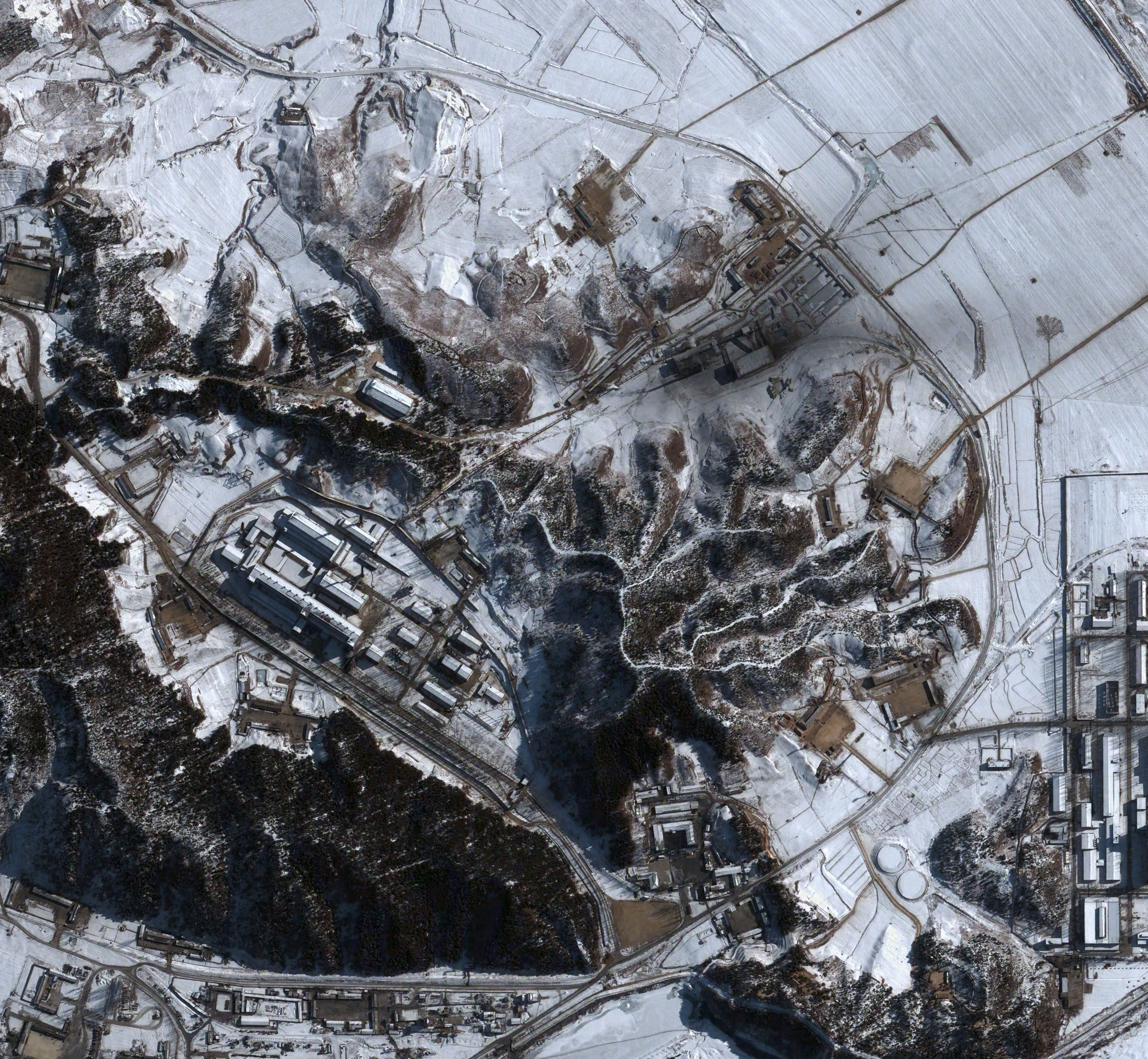 A satellite image of the coal fire steam plant and reprocessing facility of North Korea's Yongbyon Nuclear Scientific Research Center taken in January 2003.