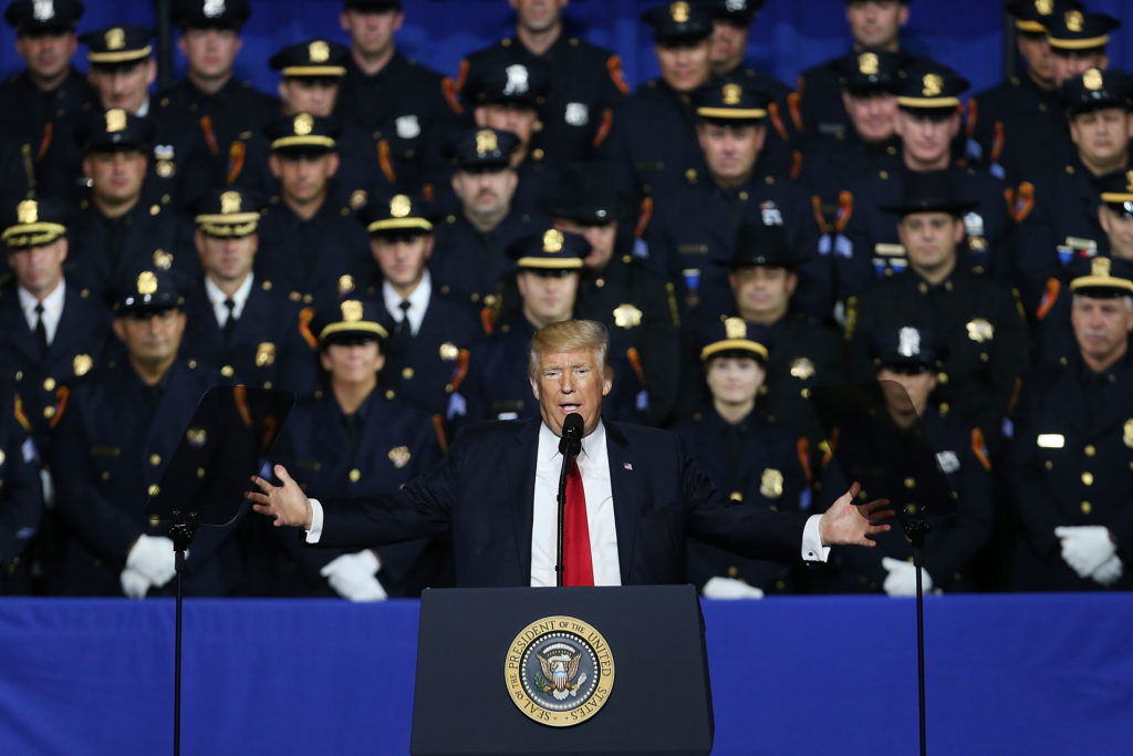President Trump appears on Long Island on July 28, 2017. Speaking close to where the gang MS-13 has committed a number of murders, Trump urged Congress to dedicate more funding to border enforcement and faster deportations.