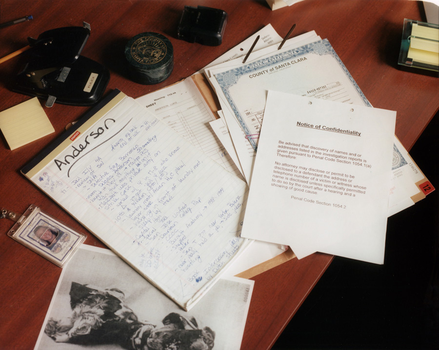 Documents from Lukis Anderson's case on public defender Kelley Kulick's desk. (Credit: Carlos Chavarria)
