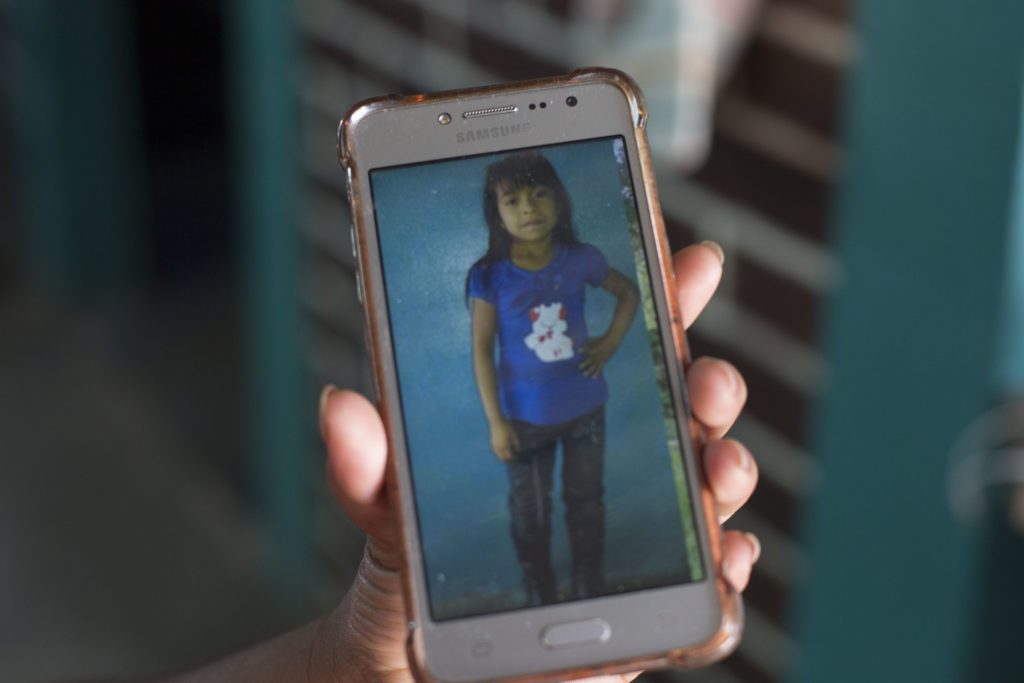 Paulina Gutierrez Alonzo shows a photo of her 7-year-old daughter Antonia Yolanda Gomez Gutierrez on her cell phone on July 26, 2018. Gutierrez Alonzo was deported to Guatemala in June and was separated from her daughter, who is currently at an immigration center in Arizona.