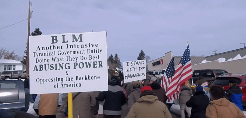 A still from the January 2016 protest march against the Hammonds' re-imprisonment led by Ammon Bundy.