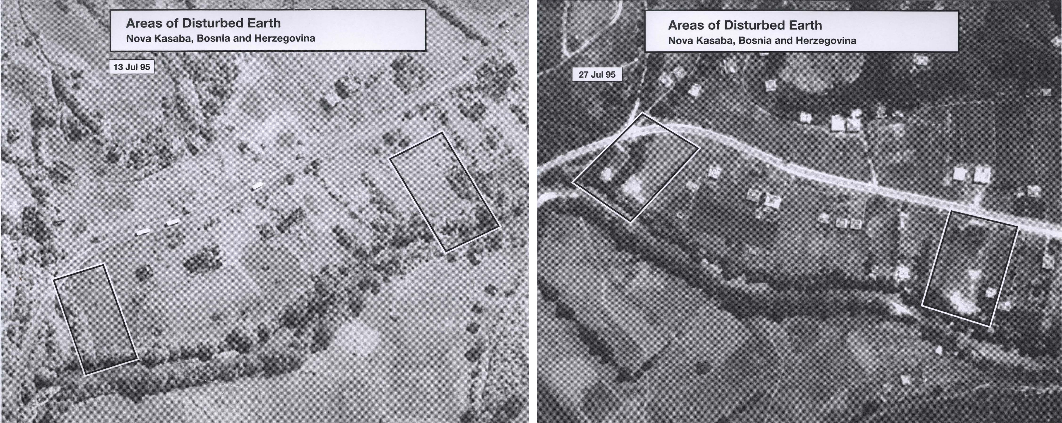 "Images taken on July 13, 1995 and July 27, 1995 show the ""before"" and ""after"" of areas of disturbed earth. Road to Dayton paved with genocide, International passivity, lack of support for peacekeepers doomed Srebrenica 20 years ago; 8,000 Muslim refugees died.""  National Security Archive Electronic Briefing Book No. 535, posted November 23, 2015. Edited by Tom Blanton and Emily Willard."