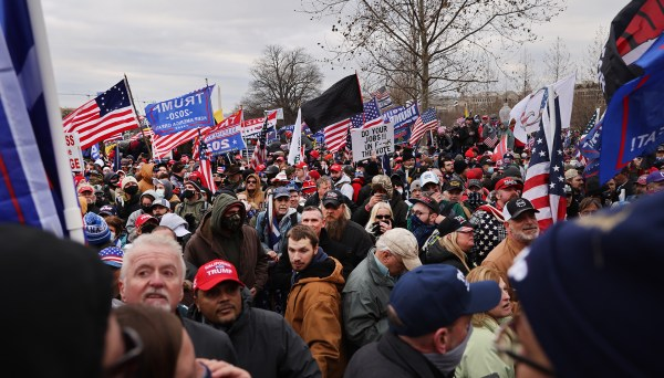 A crowd gathers outside the U.S. Capitol on Wednesday in Washington, D.C.