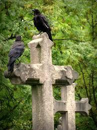 birds on a cross grave stone