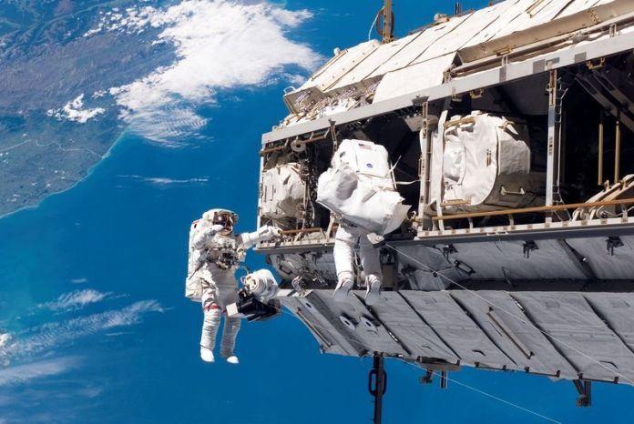 NASA astronauts spacewalk
