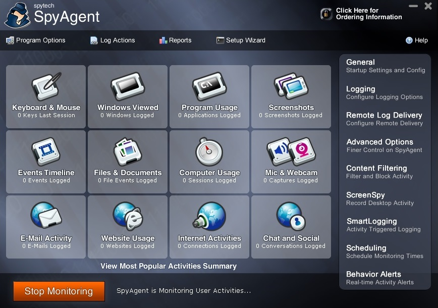 SpyAgent menu interface