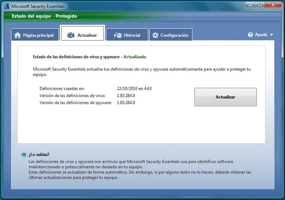 Microsoft Security Essentials  práctico 4