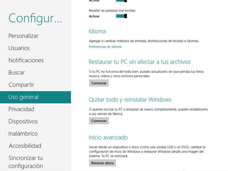 Windows 8 opciones de restauración