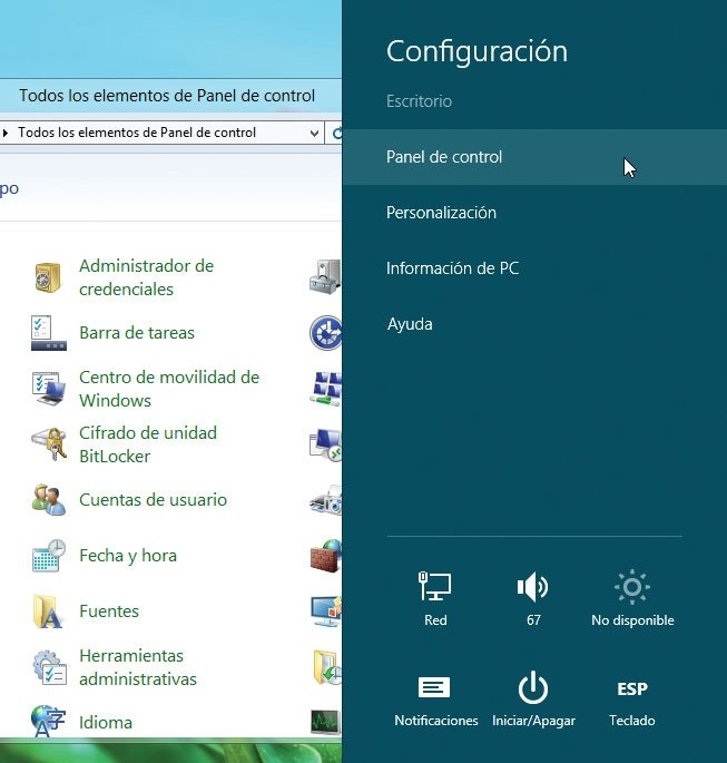 Windows 8 Panel de control clásico