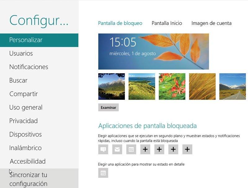 Windows 8. Pantalla de bloqueo