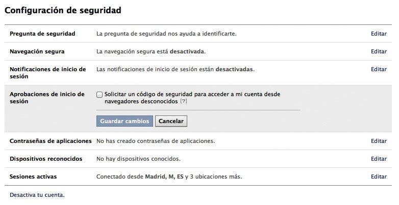 Verificación en dos pasos Facebook
