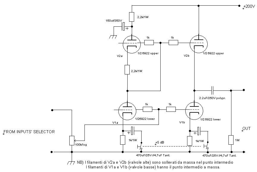 Tube Line Preamplifier Circuit