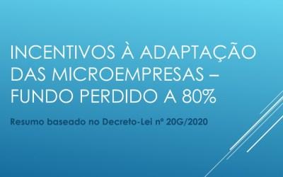 INCENTIVOS À ADAPTAÇÃO DAS MICROEMPRESAS – FUNDO PERDIDO A 80%