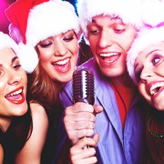 Christmas Karaoke with Santa Hats